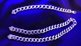 Heavy Chunky Men's Silver curb chain set