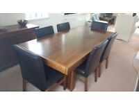 Modern Dining Room Table & 6 Chairs Walnut Veneer 200cm X 100cm