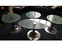 PEDRALI TEMPERED GLASS TABLES SET OF FOUR SILVER CHROME STANDS EXCELLNET CONDITION RRP 300 PLUS