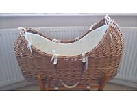 Quality Wicker Moses Basket with Mattress & Rocking Stand
