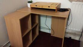 Beech coloured corner desk