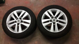 "2x 16"" Vauxhall alloy wheels with winter tyres - fit Astra, Vectra, Corsa, Zafira etc"