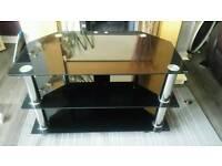 Black Glass TV Television Corner Stand