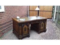Large Antique Carved Oak Walnut Mahogany Leather Topped Partners Writing Desk