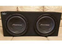 CAR DOUBLE SUBWOOFER PIONEER 2000 WATT 2 x 12 INCH SPEAKERS WITH ENCLOSURE BASS BOX SUB WOOFER