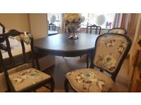 Italian style dining table and 6 chairs.