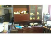Mahogany effect wall unit