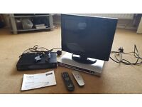 """Tecknika 15"""" HD LCD TV with Freeview. Philips DVD player and Goodmans Freeview & TV recorder"""