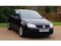 VW GOLF 1.9 S TDI 08PLATE 2008 3P/OWNER 108000 MILES FULL SERVICE HISTORY AIRCON MANUAL IN BLACK 5DR
