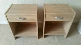 Two pine effect bedside tables