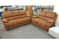 Brand New Brown Fabric 3 Seater & 2 Seater Sofas From Harveys Can Deliver