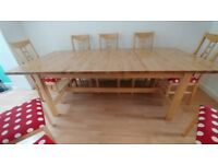 Large Solid Wood Extending Dining Table & 8 Chairs