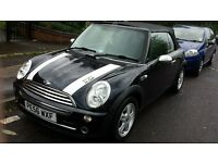 mini convertible black 1.6 petrol engine, low miles at 63000,new mot,