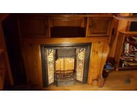 fireplace with cast iron insert