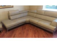 Brand new dfs grey corner leather sofa. Selling due to mistake in measuring. Smoke & pet free home