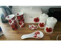 Scarlet poppy bread bin & accessories..still for sale in argos