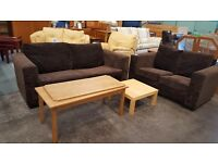 Modern chocolate brown 2 and 3 seater fabric sofa suite