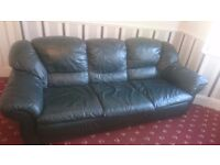 3 PC LEATHER GREEN SETTEES AND CHAIR