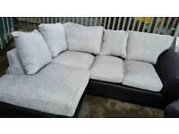 NEW Designer Linear Chenille Fabric Silver Grey Black Corner Sofa DELIVERY AVAILABLE