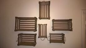2 Sets of 3 wooden crates - 3 sizes in each set