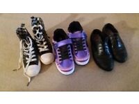 Size 2 Heelies, Zara High Tops & Clarks School Shoes