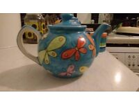 Teapot - small hand painted butterfly teapot.