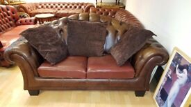 antique. Lovely dark brown leather Chesterfield large 2 setter .