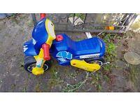 Kids blue ride on bike