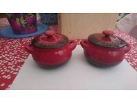 Mini Denby red soup/casserole pots