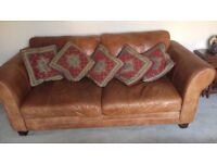 3 seater tan leather set - DFS