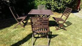 Square wooden garden table and 4 chairs