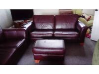 2x brownLeather sofas and footstool