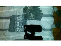 Scarf and glivea set 2off new thinsulate large to xl