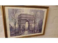 """Print of Painting of Arc de Triomphe with Eiffel Tower in Background by """"Georges B."""""""
