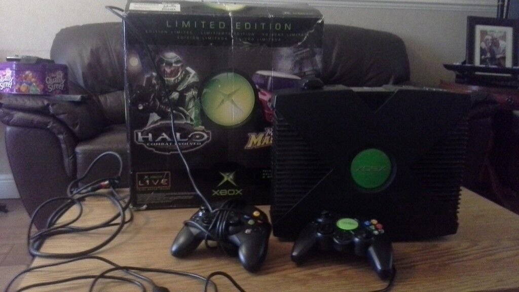 Original xbox and 2 controllers (boxed)
