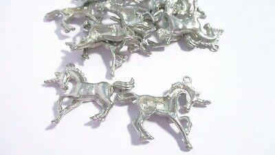 VINTAGE 12 Piece LOT Silvertone Castings Prancing Unicorn Jewelry Findings 12 Piece Jewelry Findings