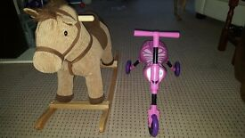 Rocking horse & pink scuttle bug