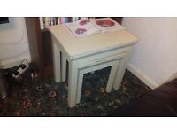 Wooden stools or coffee tables double white cash and collection only £10