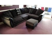Lovely grey and black corner sofa DFS sharon with foot stool