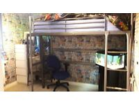 Silver Loft Bed (single) £60. Great condition - normal scratches/ wear and tear