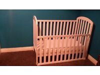 **O BABY LILY WHITE DROPSIDE COT+MATTRESS+BEDDING.OLDMELDRUM.£60**
