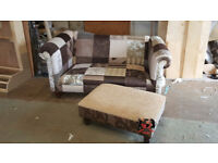Chippendale Duresta Style Camelback Patchwork Sofa With Patchwork Stool
