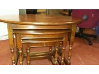 Nest of 3 oak wood tables, good condition, sturdy, delivery available
