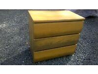 Oak look deep drawered 3 drawer chest