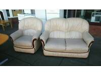 Leather sofa and matching arm chair