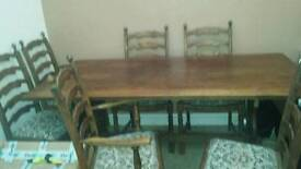 Solid wood large table and 6 chairs