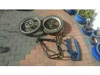 Motor bike frame and wheels