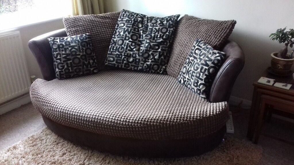 Dfs Cuddler Sofa Brown In Good Second Hand Condition