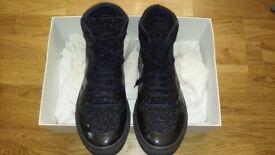 £75 QUICK SALE!!! Good Condition Balenciaga Mix Leather/Fabric Hi Top - Blue/Grey - Size 9 EU 43