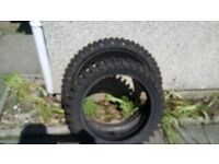 Road legal knobbly tyres. Pirelli front 90/90 x 21 & Mitas rear 130/70 x 17. Nearly new.